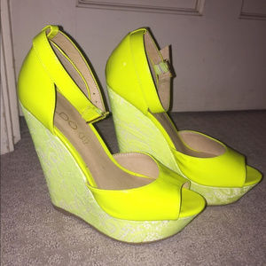 Aldo Neon Yellow Wedges